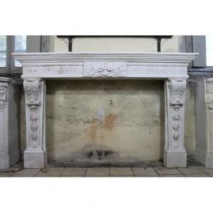 007 AG (M81) MONUMENTALE CAMINO LUIGI XVI IN BIANCO STATUARIO CARRARA