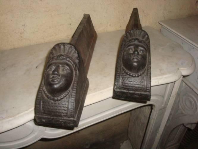 """038 COPPIA DI ALARI PER CAMINETTO """"RETOUR D'EGYPTE"""""""