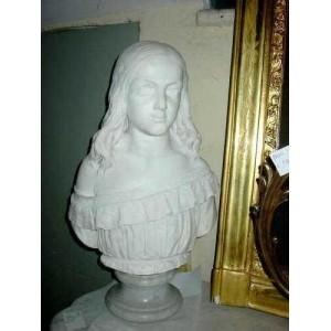 042 Busto di giovinetta, finissimo ritratto in Statuario Carrara