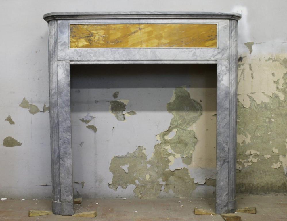 701 CAMINETTO DECO' IN MARMO BARDIGLIO TURCHINO E GIALLO SIENA