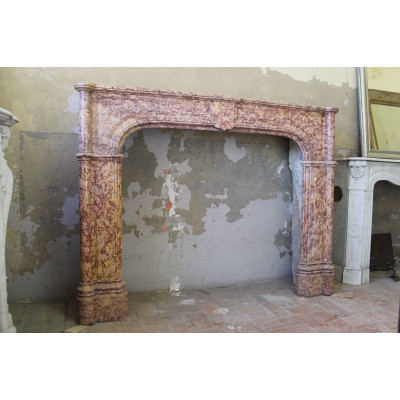 822 MONUMENTALE CAMINETTO IN STILE LUIGI XIV, PRIMA META' '800, IN MARMO BROCCATELLO ANTICO